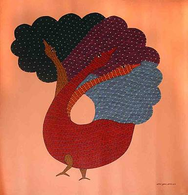 Gond Painting - Ar-02-peacock by Rajender Kumar Shyam