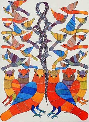 Gond Painting - Ar-03- Owls And Birds by Kaushal Prasad Tekam