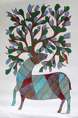 Gond Painting - Ar-04- Dear With Tree by Kaushal Prasad Tekam