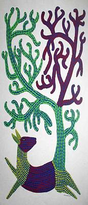 Gond Painting - Ar-13- Dear With Tree1995 by Bhajju Shyam