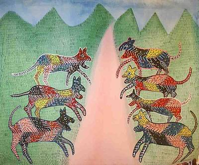 Gond Painting - Ar 17- Animals by Kala Bai Shyam