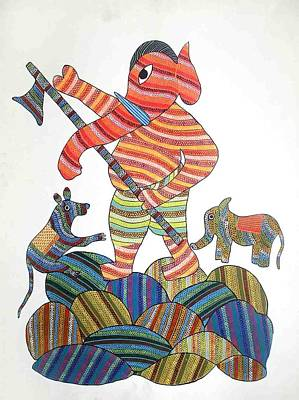 Gond Painting - Ar 18- Ganesha by unknown Artist