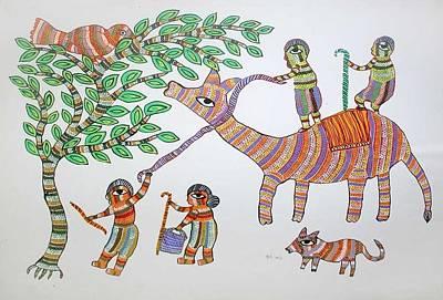 Gond Painting - Ar 20- Village Scene by Durga Bai