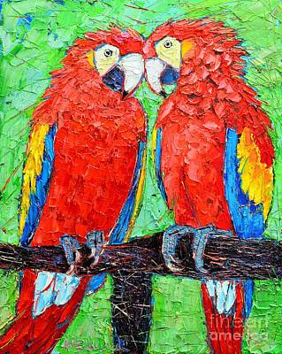 Ara Love A Moment Of Tenderness Between Two Scarlet Macaw Parrots Art Print by Ana Maria Edulescu