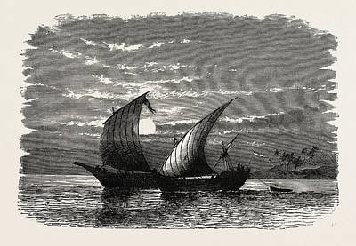 Lateen Drawing - Arab Dhows On The Red Sea. Dhow Is The Generic Name by Litz Collection