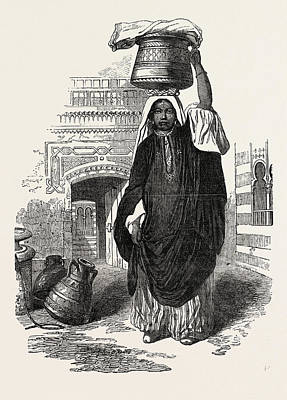 Vale Drawing - Arab Girl Returning From The Bath, Cairo by Egyptian School