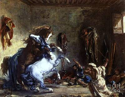Painting - Arab Horses Fighting In Stall by Pg Reproductions