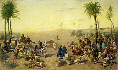 Camel Photograph - Arab Market Oil On Canvas by J. Cruciani
