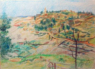 Drawing - Arab Village Seen From Mount Scopus by Esther Newman-Cohen