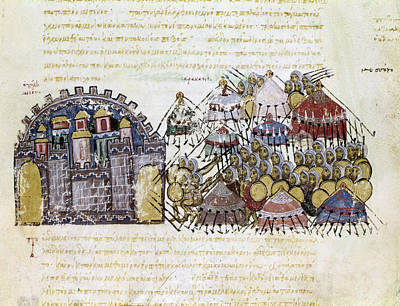 Byzantine Painting - Arab Warfare, 1038 by Granger