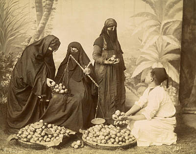 Arab Women Buying Fruit Art Print by Underwood Archives