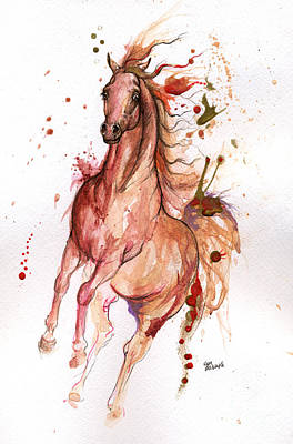 Arabian Mixed Media - Arabian Horse 2014 10 21 by Angel  Tarantella