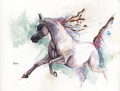 Arabian Mixed Media - Arabian Horse 2014 10 26 by Angel  Tarantella