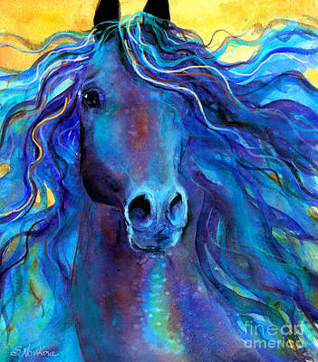 Watercolor Pet Portraits Painting - Arabian Horse #3  by Svetlana Novikova