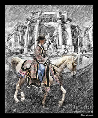 Arabian Horse Black And White Art Print