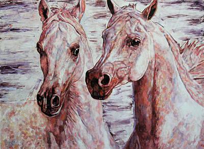 Painting - Arabian Horse Duet by Jana Fox