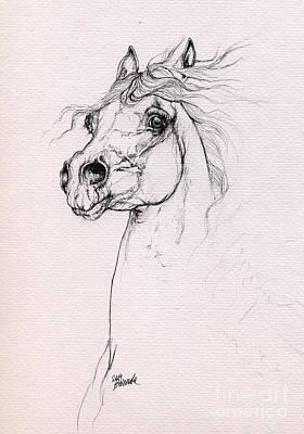 Horse Drawing - Arabian Horse Portrait 2014 02 25 by Angel  Tarantella