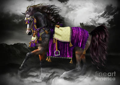 Arabian Digital Art - Arabian Horse  Shaitan by Shanina Conway