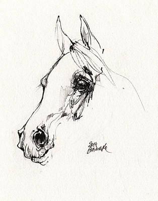 Horse Drawing - Arabian Horse Sketch 2014 05 28c by Angel  Tarantella