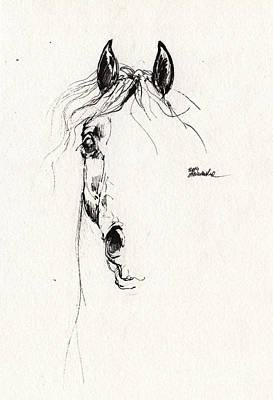 Horse Drawing - Arabian Horse Sketch 2014 05 29 by Angel  Tarantella