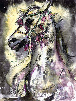 Arabian Mixed Media - Arabian Horse With Headdress by Ginette Callaway