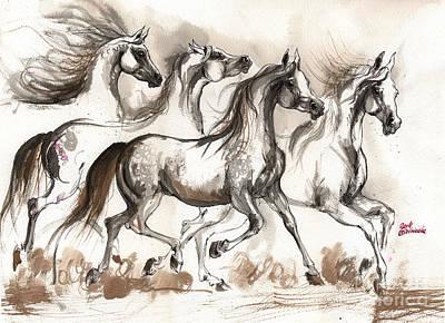 Arabian Horses Ink Painting 2014 04 16 Original