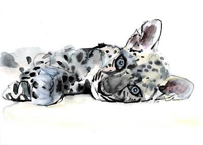 Work On Paper Painting - Arabian Leopard Cub by Mark Adlington