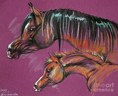 Arabian Mare And Foal Art Print by Angel  Tarantella