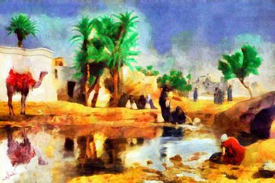 Camel Painting - Arabian Rural Life by George Rossidis