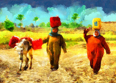 Fantasy Painting - Arabian Rural Women by George Rossidis