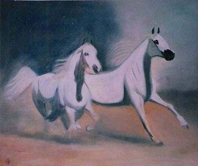 Painting - Arabic Horses by Rami Besancon