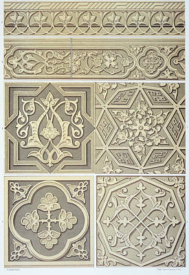 Floral Drawing - Arabic Tile Designs  by Anonymous