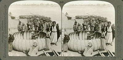 Arabs Building A Kufa Art Print by Underwood Archives
