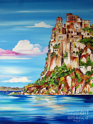Painting - Aragonese Castle Ischia Island Naples Italy by Roberto Gagliardi