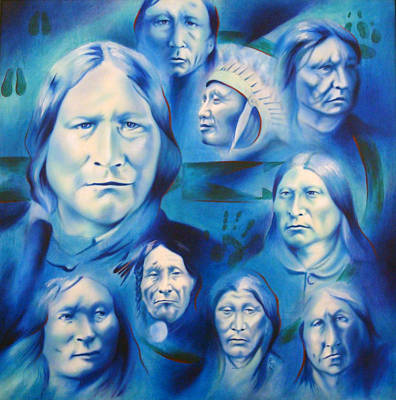 Contemporary Native American Art Painting - Arapaho Leaders by Robert Martinez