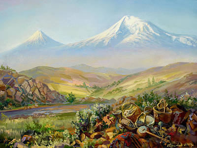 Ground Painting - Ararat With National Attributes Of Culture  by Meruzhan Khachatryan