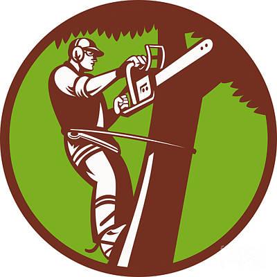 Arborist Tree Surgeon Trimmer Pruner Art Print by Aloysius Patrimonio