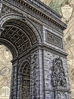 Photograph - Arc De Triomphe - French Map Of Paris by Lee Dos Santos