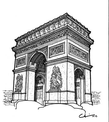 Drawing - Arc De Triomphe by Calvin Durham
