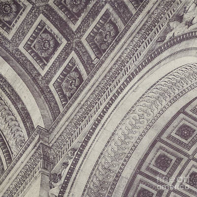 Square Photograph - Arc De Triomphe Detail In Black And White by Maren Misner
