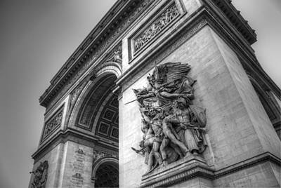 Art Print featuring the photograph Arc De Triomphe In Black And White by Jennifer Ancker