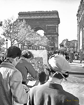 Photograph - Arc De Triomphe Painter - B W by Chuck Staley