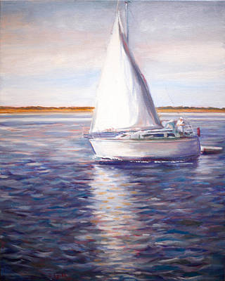 Painting - Boat On Blue Water With Reflections by Jennifer Lycke