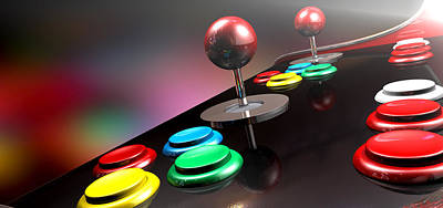Navigate Digital Art - Arcade Control Panel With Joystick And Buttons by Allan Swart