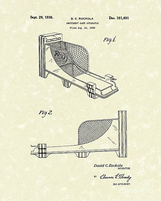 Coins Drawing - Arcade Game 1936 Patent Art by Prior Art Design