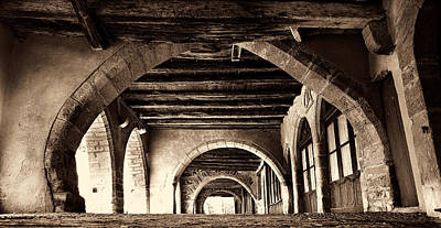 Photograph - Arcade In Sauveterre De Rouergue Aveyron Sepia by Weston Westmoreland