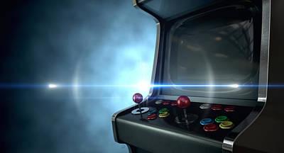 Ominous Digital Art - Arcade Machine Dramatic View by Allan Swart