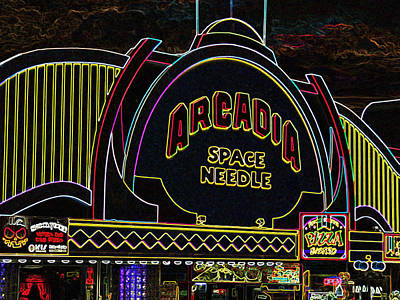 Arcadia Space Needle In Neon Art Print by Marian Bell