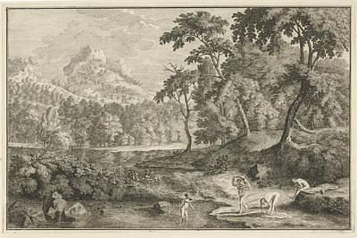 Adolf Drawing - Arcadian Landscape With Bathing Women, Adolf Van Der Laan by Quint Lox
