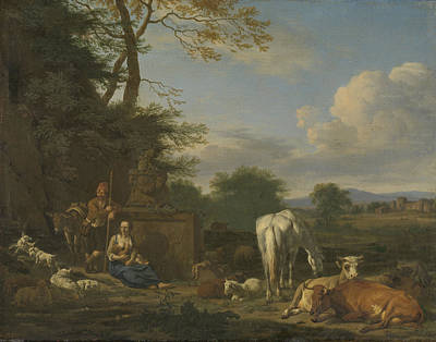 Arcadian Landscape With Resting Shepherds And Animals Art Print by Litz Collection